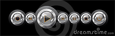 Vector illustration shiny media player navigation