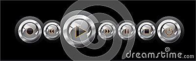 Vector illustration shiny media player navigation