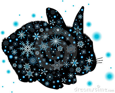 Vector illustration silhouette of rabbit