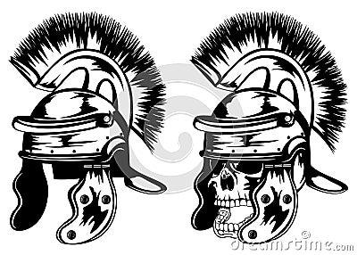 Skull in legionary helmet