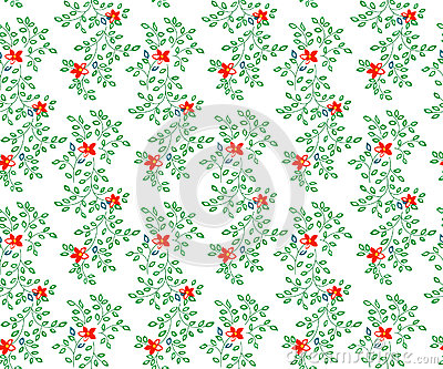 Vector illustration of small flowers and leaves seamless pattern Cartoon Illustration
