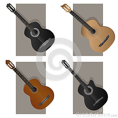 Vector illustration of some types guitar.