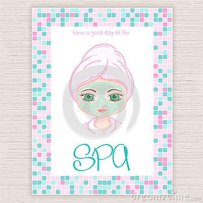 spa mask invitation template - vector illustration of spa party invitation with colorful