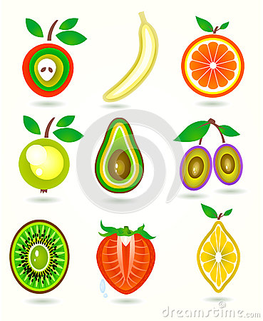 Vector illustration of stylized cut fruits.