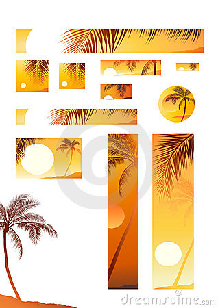 Vector illustration sunset and coconut tree