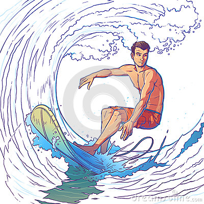 Vector illustration of a surfer Vector Illustration