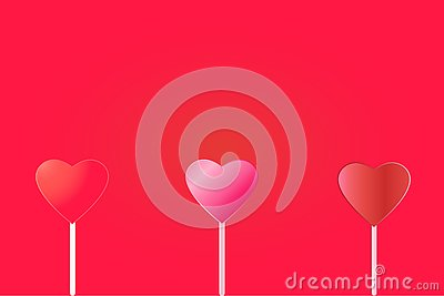Vector illustration of three hearts on a red background. Valentine`s Day Cartoon Illustration
