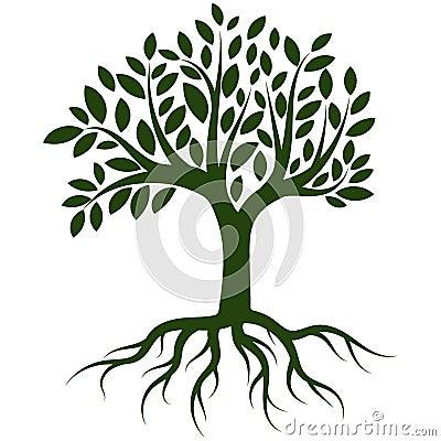 Tree roots logo vector Vector Illustration