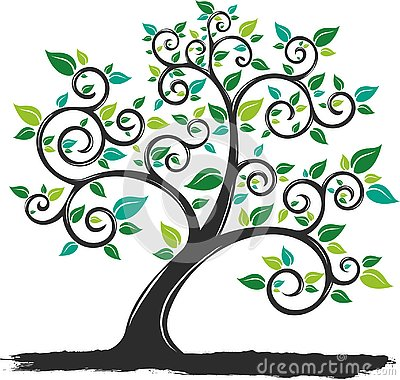 Vector Illustration silhouette Tree with Roots in white background Vector Illustration
