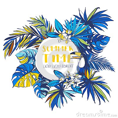 Free Vector Illustration Tropical Floral Summer Party Poster Invitation Royalty Free Stock Photography - 118255207