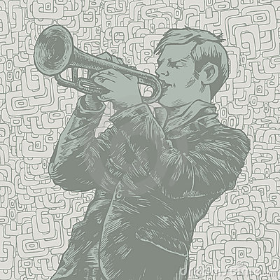 Vector illustration with trumpeter