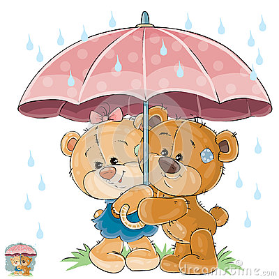 Vector illustration of two brown teddy bear boy and girl hiding from the rain under the umbrella Vector Illustration