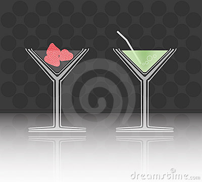 Vector illustration of two cocktail goblets on tab