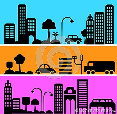 Vector illustration of urban street scene