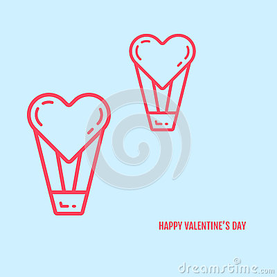 Vector illustration of valentines day concept in flat bold line style. Vector Illustration
