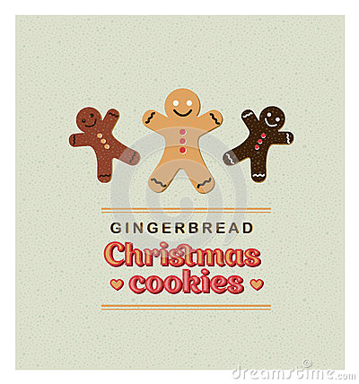 Free Vector Illustration Vintage Retro Greeting Card With Gingerbread Cookies. Royalty Free Stock Image - 62760416