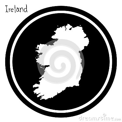Free Vector Illustration White Map Of Ireland On Black Circle, Isolat Royalty Free Stock Images - 100880219