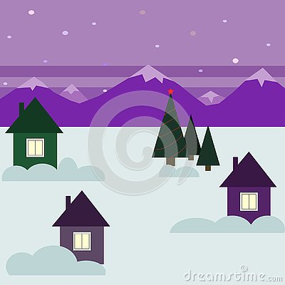 Vector illustration with winter house in the snow Cartoon Illustration