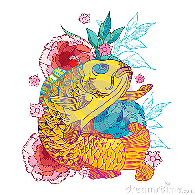 Free Vector Illustration With Outline Golden Koi Carp And Pink Chrysanthemum Or Dahlia Isolated On White.  Japanese Ornate Fish. Royalty Free Stock Photo - 85206055