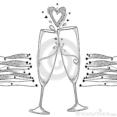 Free Vector Illustration With Two Contour Toasting Champagne Glass And Ornate Heart In Black Isolated On White Background. Royalty Free Stock Images - 83493619