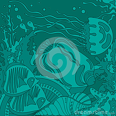 Free Vector Illustration With Underwater World Of The Tropical Sea Stock Photo - 52084370