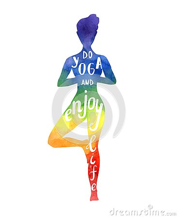 Free Vector Illustration With Yoga Woman With Bright  Texture In Rainbow Colors. Stock Photo - 76649700
