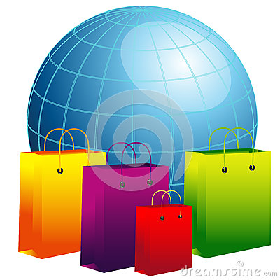 World globe with shopping bags