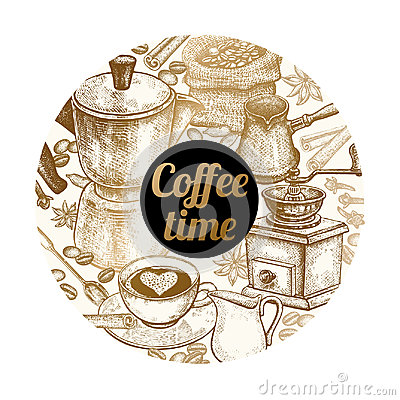 Free Vector Illustration & X22;Coffee Time& X22; Royalty Free Stock Photos - 95863808
