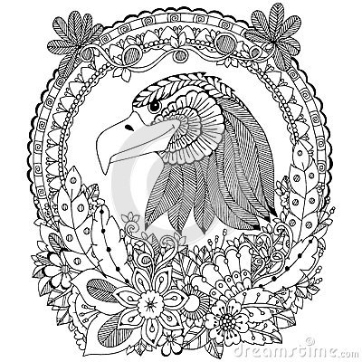 Vector Illustration Zen Tangle Eagle Round Frame Floral
