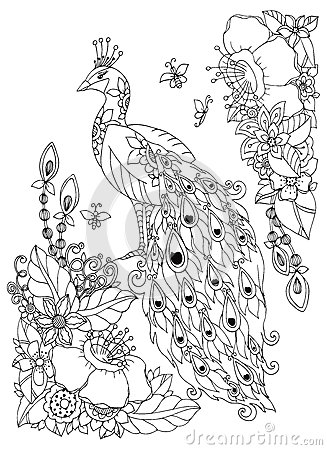 Vector Illustration Zen Tangle Peacock And Flowers
