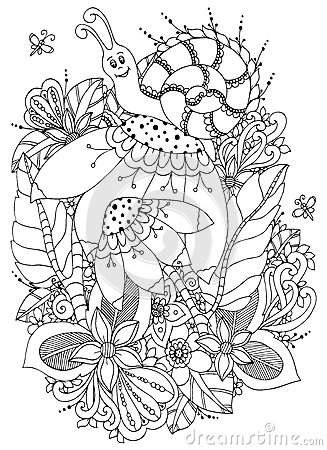 Free Vector Illustration Zen Tangle Snail On Flowers. Doodle Drawing. Coloring Book Anti Stress For Adults. Black White. Stock Photography - 72710152
