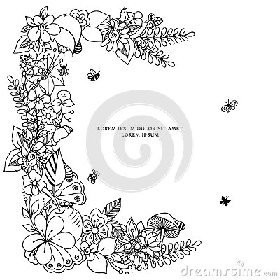 Free Vector Illustration Zentangl Card With Frame Flowers. Doodle Flowers, Spring, Jewelry, Wedding. Coloring Book Anti Royalty Free Stock Photo - 69613915
