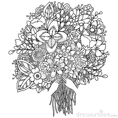 Vector Illustration Zentangl A Girl And Bouquet Of