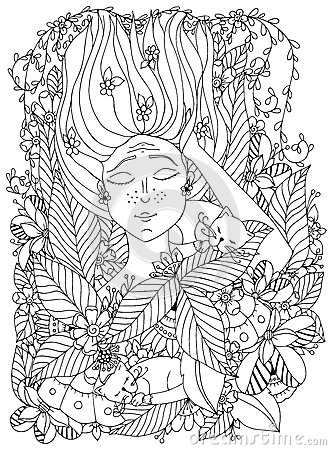 Free Vector Illustration Zentangl Girl Child With Freckles Is Sleeping With Cats In The Flowers.  Stock Images - 70701164