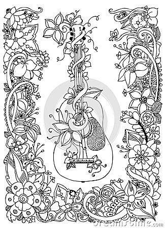 Vector Illustration Zentangl Guitar