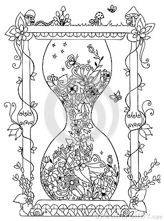 Free Vector Illustration Zentangl Hourglass With Flowers. Time, Flowering, Spring, Doodle, Zenart, Summer, Mushrooms,  Nature Stock Images - 68928454