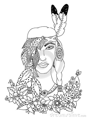 Free Vector Illustration Zentangl Woman, Girl American Indian Nationality. Doodle Portrait, Flowers. Feathers. Coloring Book Stock Photography - 69293082