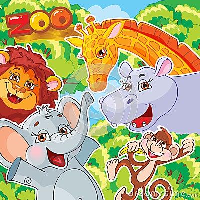 Vector illustration. Zoo. Joyful animals.