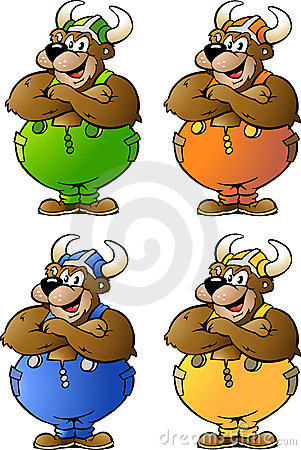 Vector illustrations of 4 Viking Bear