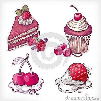 Vector illustrations of dessert