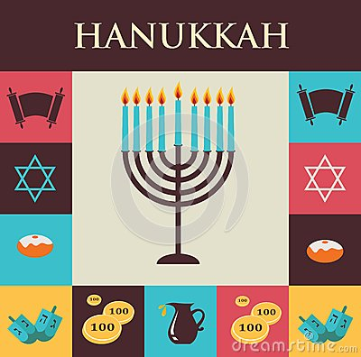 Free Vector Illustrations Of Famous Symbols For The Jewish Holiday Hanukkah Royalty Free Stock Photos - 45311378
