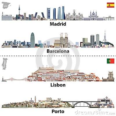 Free Vector Illustrations Of Madrid, Barcelona, Lisbon And Porto City Skylines. Maps And Flags Of Spain And Portugal Royalty Free Stock Photography - 103728927