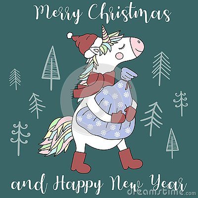 Vector image of a cute unicorn in a hat, scarf and boots with a bag of gifts. Greeting card with the inscription Merry Christmas a Stock Photo