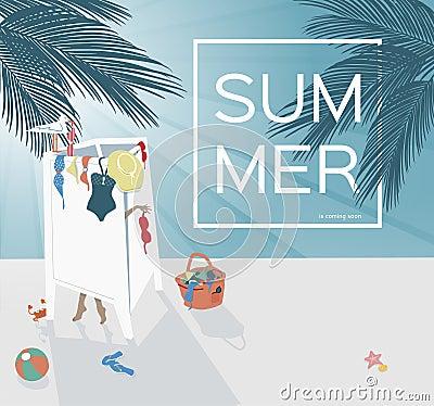 Dressing scene in the summer