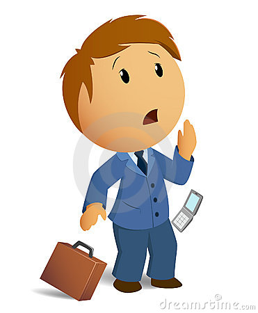 Vector image shocked businessman with throw case a