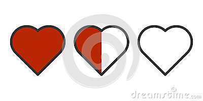 Vector image of three hearts in a row - completely filled, half of the fill and without pouring. Easily outline. Isolated Stock Photo