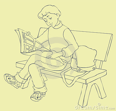 Vector Image. Young readers read a magazine