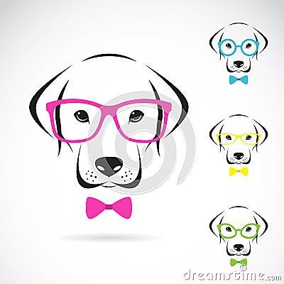Vector images of dog labrador wearing glasses Vector Illustration