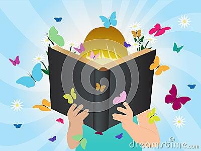 Vector imagination concept children reading story