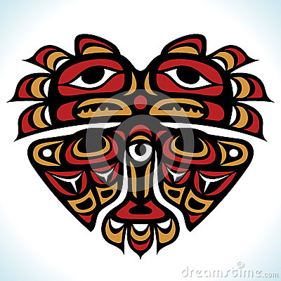 Vector Indian pattern in the shape of heart